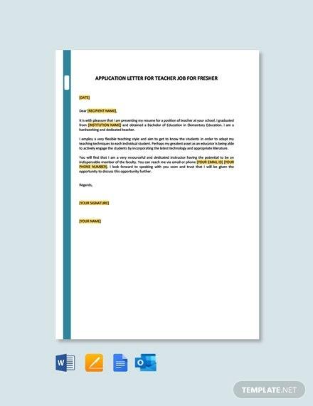 Free Application Letter For Teacher Job For Fresher Template