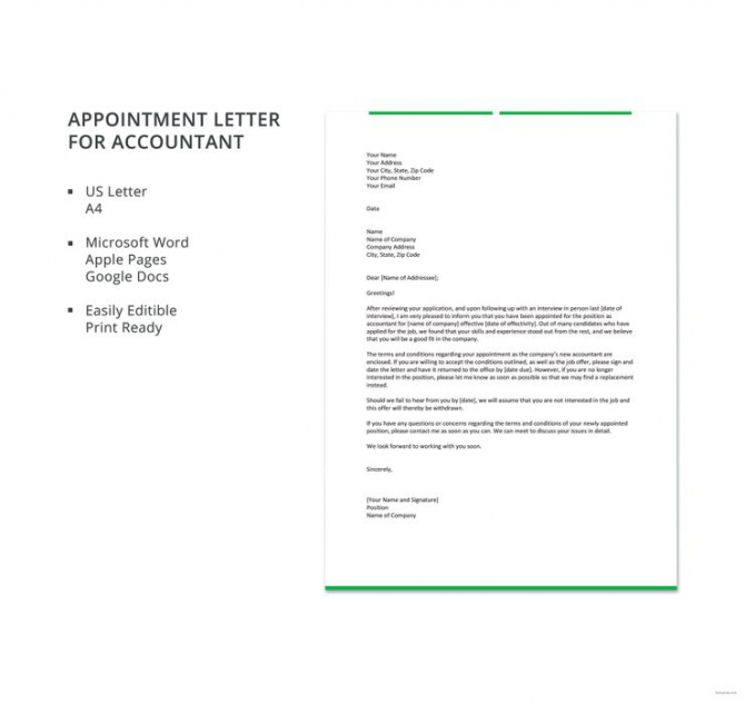Free Appointment Letter For Accountant