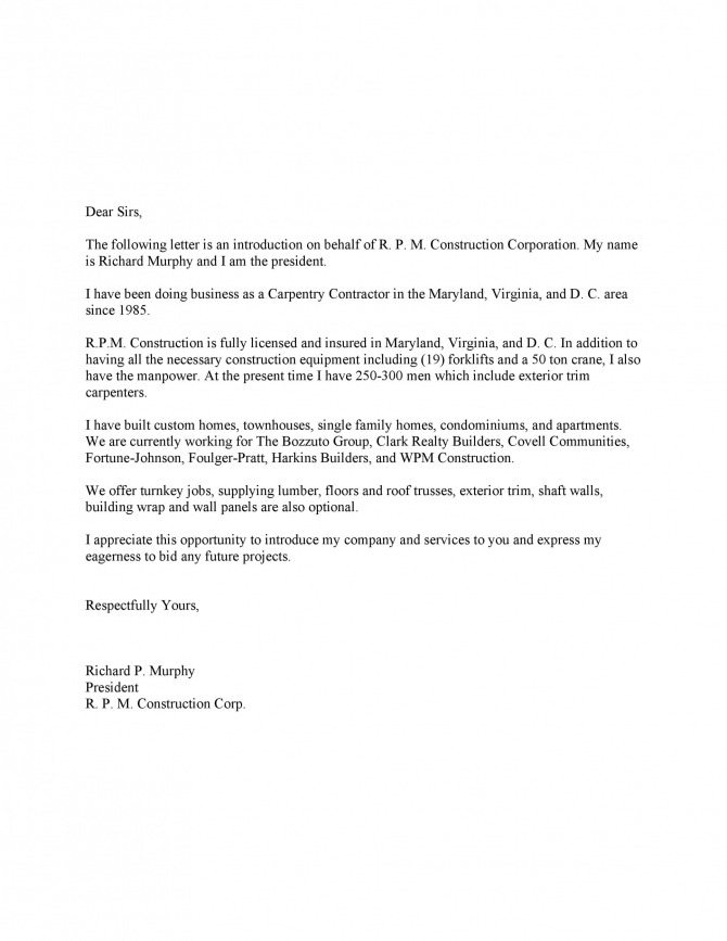 Free Business Introduction Letters Pdf   Ms Word  Templatelab