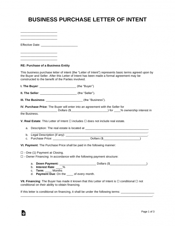 Free Business Purchase Letter Of Intent Template