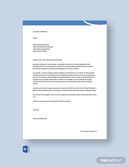 Free Business Welcome Letter For New Client Template
