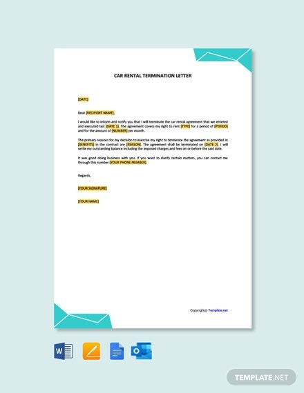 Free Car Rental Termination Letter Template