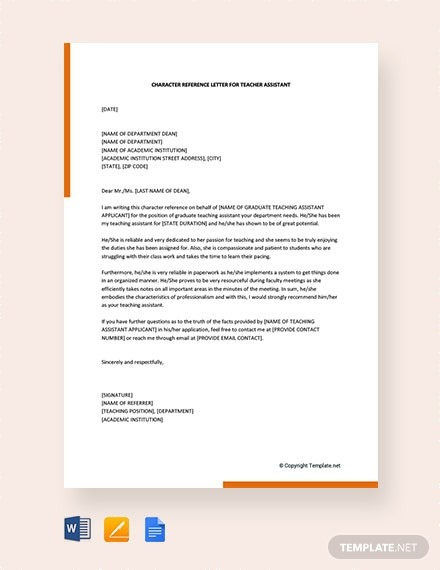 Free Character Reference Letter For Teacher Assistant Template
