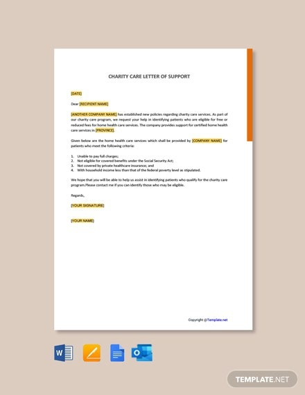 Free Charity Care Letter Of Support Template