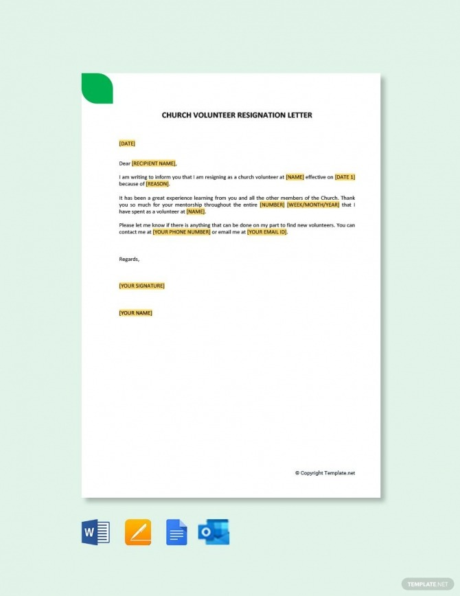 Free Church Volunteer Resignation Letter