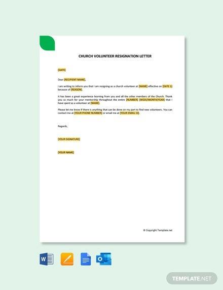 Free Church Volunteer Resignation Letter Template