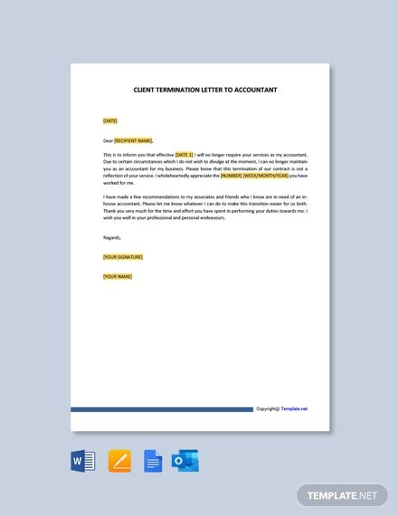 Free Client Termination Letter To Accountant Template