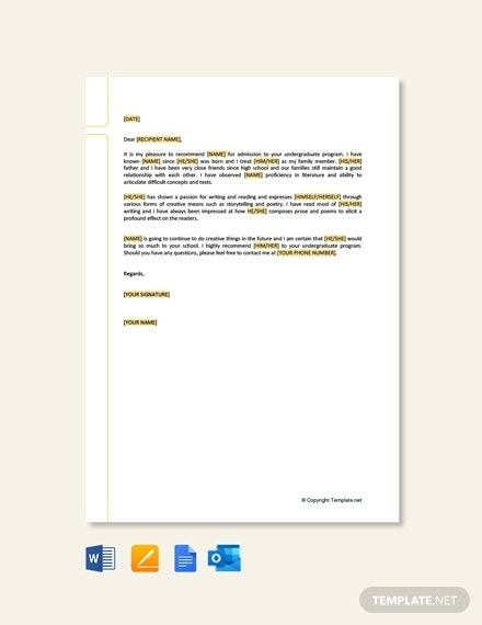 Free College Recommendation Letter From Family Friend Template