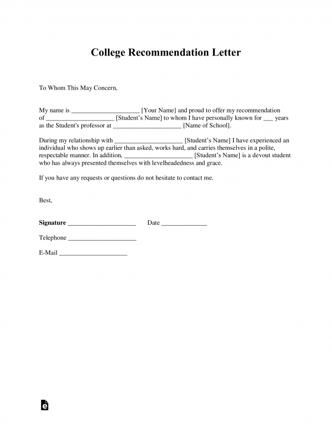 Free College Recommendation Letter Template