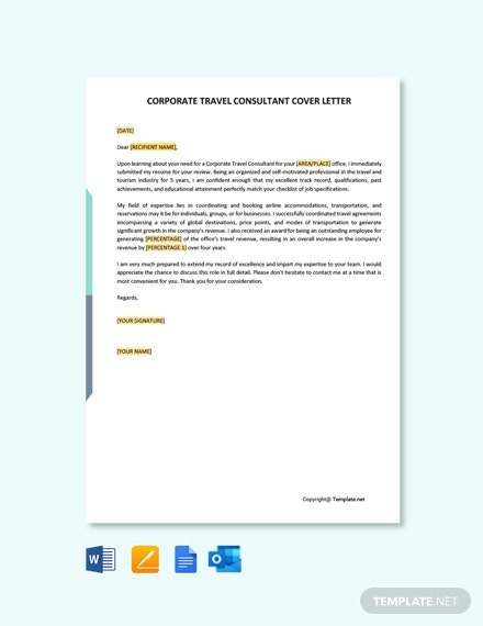 Free Corporate Travel Consultant Cover Letter