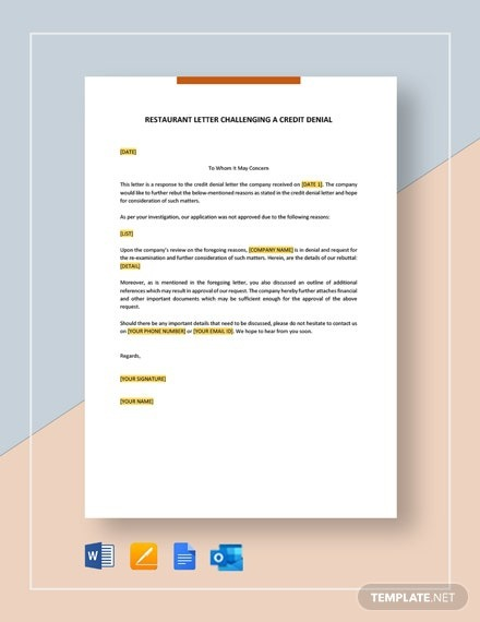 Free Credit Denial Letter Template