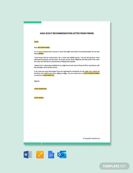 Free Eagle Scout Recommendation Letter From Friend Template