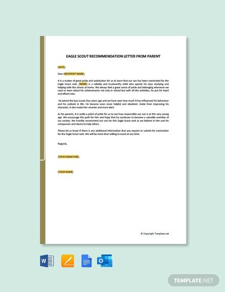Free Eagle Scout Recommendation Letter From Parent Template