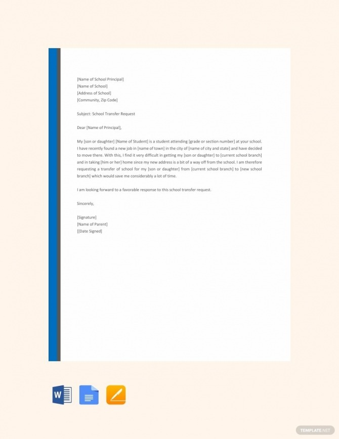 Free Elementary School Transfer Request Letter
