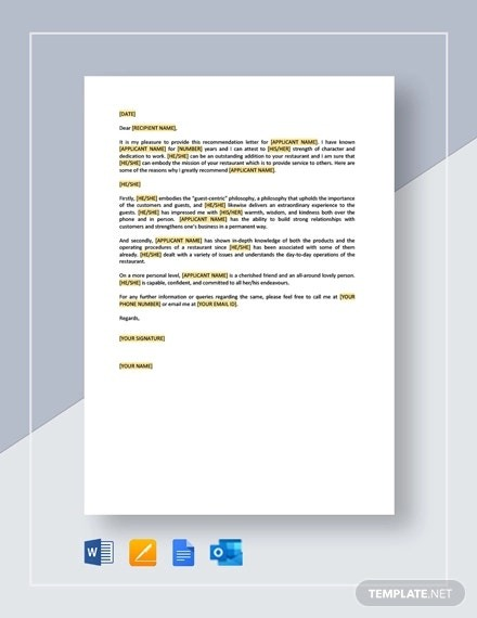 Free Employee Recommendation Letters