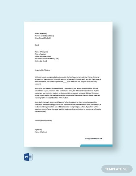 Free Family Reference Letter For Private School Template