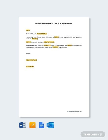 Free Friend Reference Letter For Apartment Template