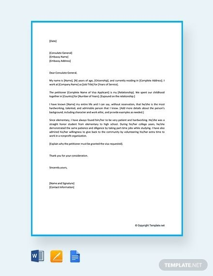 Free Immigration Reference Letter For A Family Member