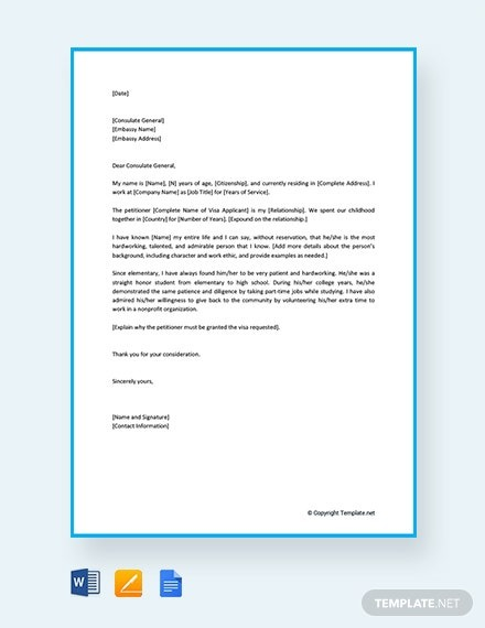 Free Immigration Reference Letter For A Family Member Template