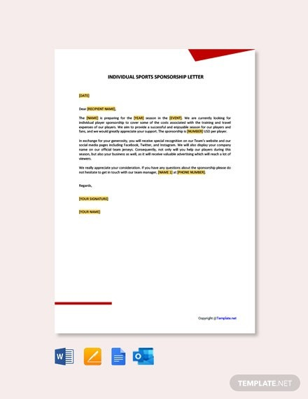 Free Individual Sports Sponsorship Letter Template