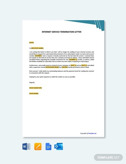 Free Internet Service Termination Letter Template