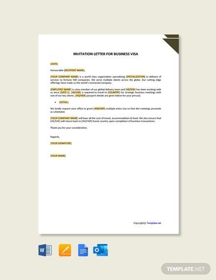 Free Job Invitation Letter For Visa Template