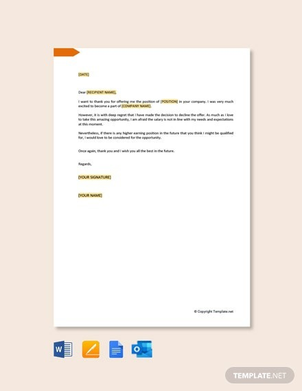 Free Job Refusal Letter Due To Salary Template