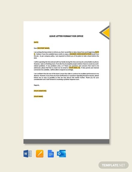 Free Leave Letter Format For Office Template