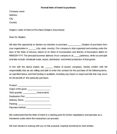 Free Letter Of Intent Template  Samples  Formats  Examples