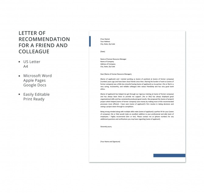 Free Letter Of Recommendation For A Friend And Colleague