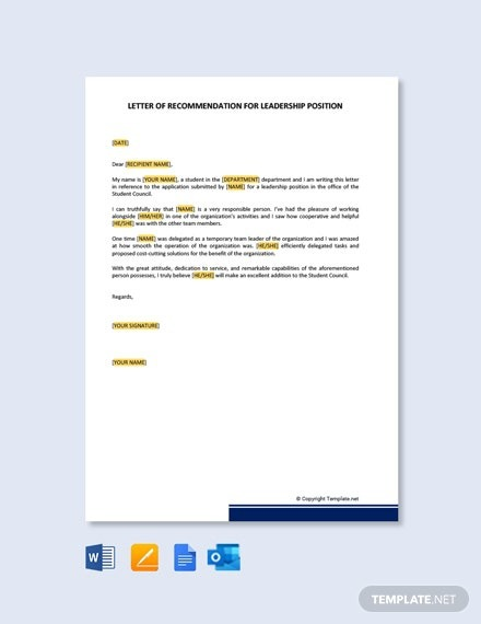 Free Letter Of Recommendation For Leadership Position Template