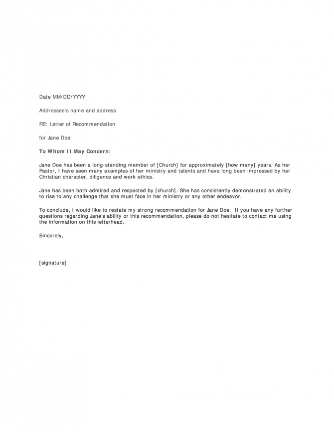 Free Letter Of Recommendation Templates   Samples