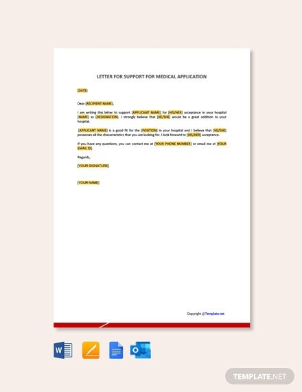 Free Letter Of Support For Medical Application Template