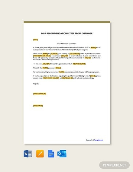 Free Mba Recommendation Letter From Employer Template
