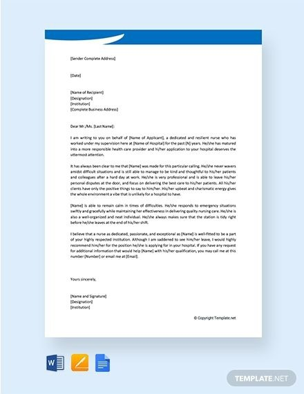 Free Nursing Character Reference Letter