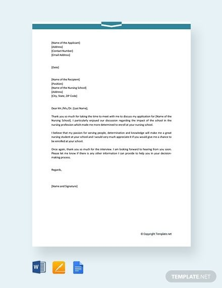 Free Nursing School Interview Thank You Letter