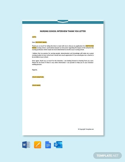 Free Nursing School Interview Thank You Letter Template