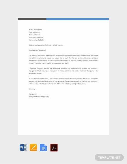Free Primary School Teacher Job Application Letter