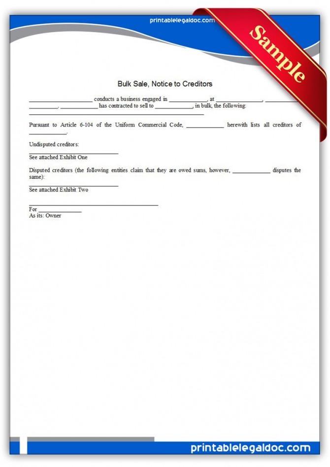 Free Printable Bulk Sale  Notice To Creditors Form Generic