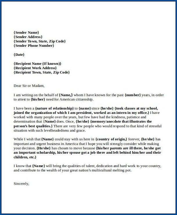Free Printable Letter Of Recommendation For Immigration