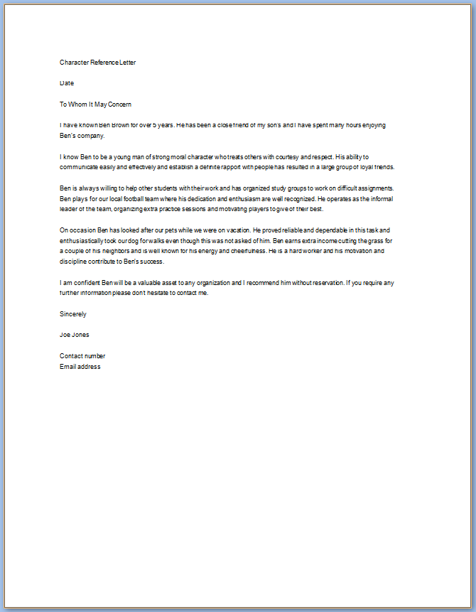 Free Printable Personal Letter Of Recommendation Template