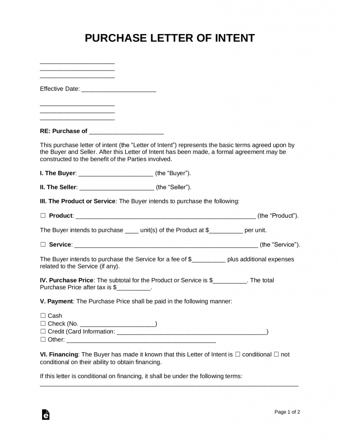 Free Purchase Productsservices Letter Of Intent