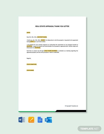 Free Real Estate Appraisal Thank You Letter Template