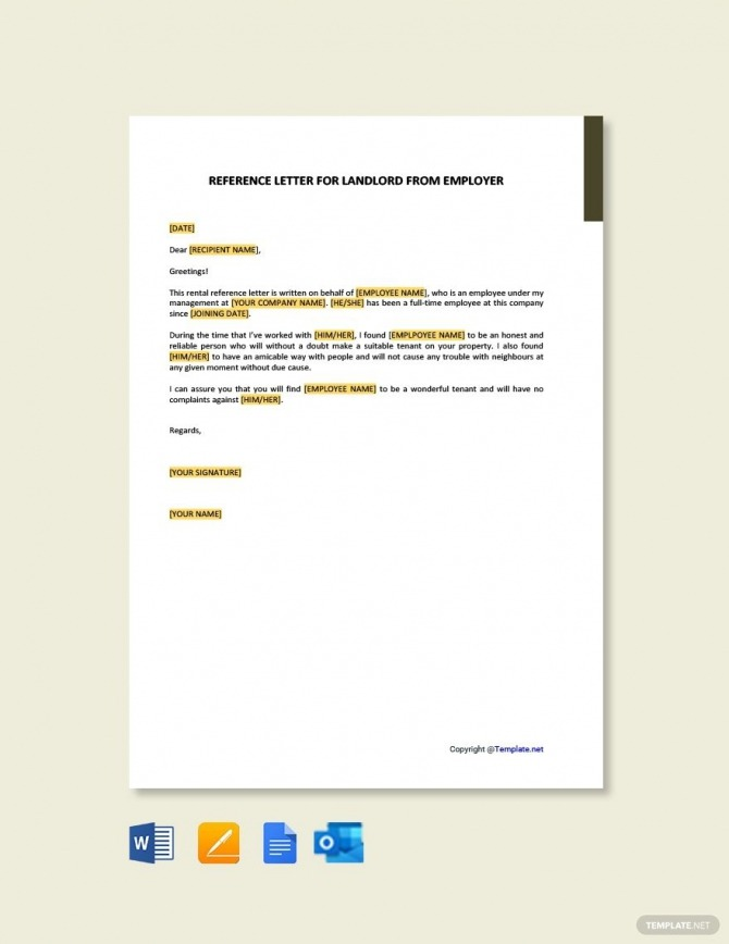 Free Reference Letter For Landlord From Employer