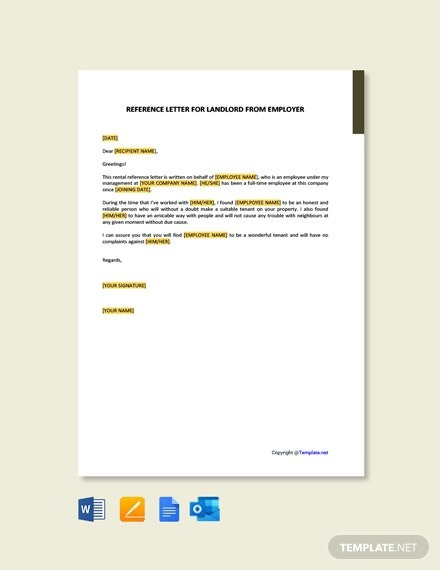 Free Reference Letter For Landlord From Employer Template