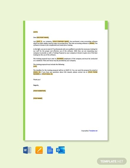 Free Request For Training Proposal Letter Template