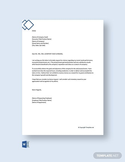 Free Request Letter To Company For Bonus Template