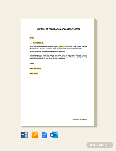 Free Response To Termination Of Contract Letter Template
