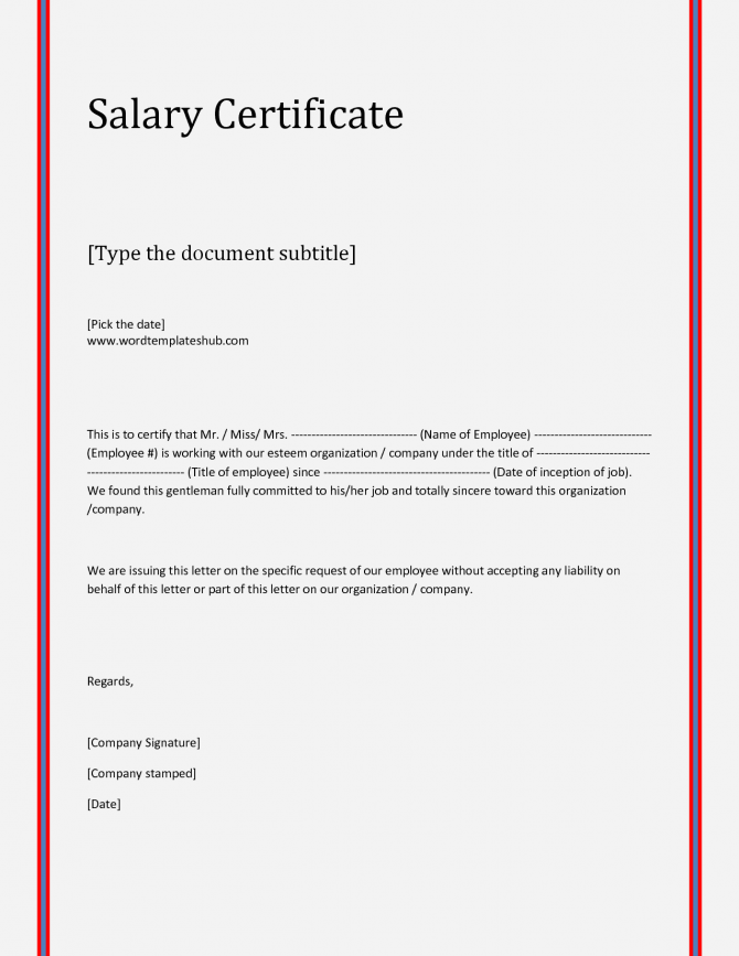 Free Salary Certificate Templates
