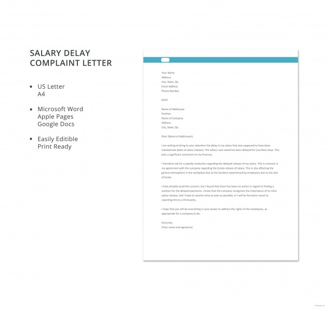 Free Salary Delay Complaint Letter